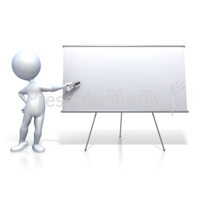 Stick Figure Presenting Blank Board Presentation clipart