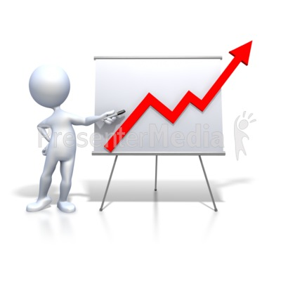 Stick Figure Presenting Graph Increase Presentation clipart
