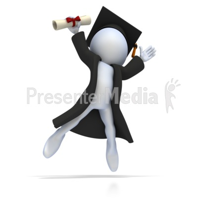 Graduate with Diploma Jumping for Joy Presentation clipart