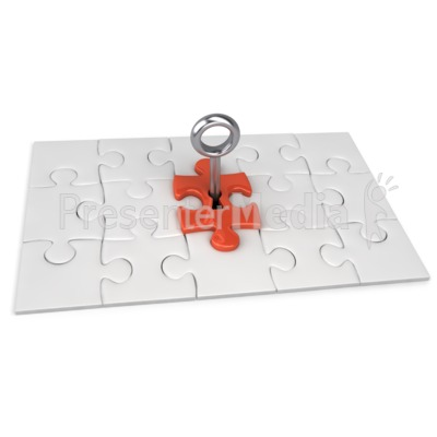 Red Square Puzzle Key Presentation clipart