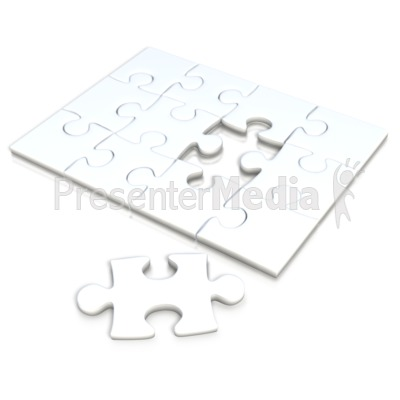 White Square Puzzle Separate Piece Presentation clipart