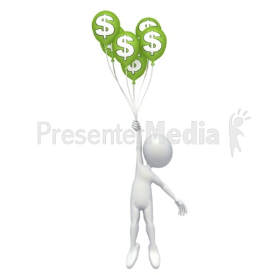 Stick Figure Money Balloons Presentation clipart