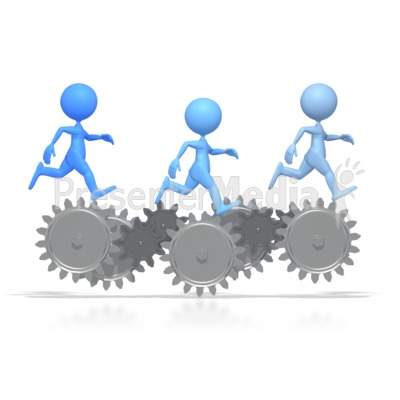 Stick Figures Running On Gears  Presentation clipart