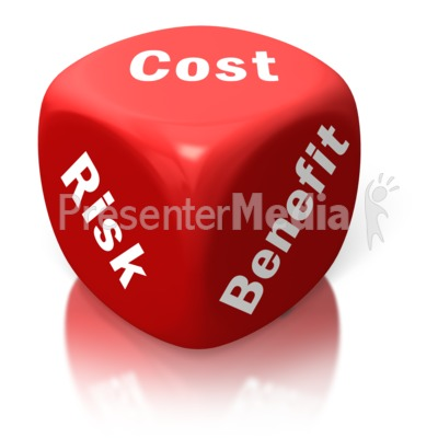 Cost Benefit Risk Red Dice Presentation clipart
