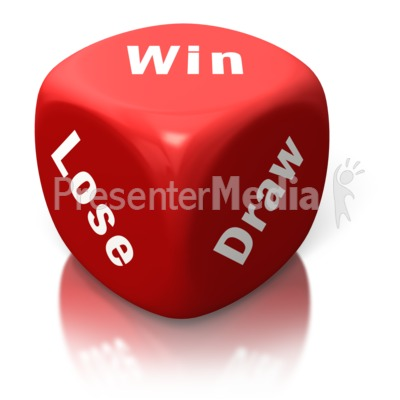 Win Lose Draw Red Dice Presentation clipart