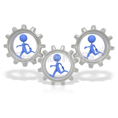 Stick Figures Running In Gears  Presentation clipart