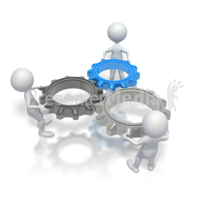 Stick Figures Holding Gears Presentation clipart
