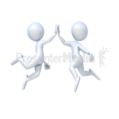 Figures Give High Five Presentation clipart