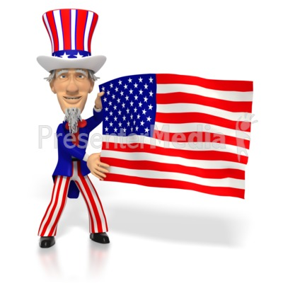 Uncle Sam Holding American Flag  Presentation clipart