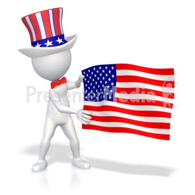 Stick Figure Holding American Flag  Presentation clipart