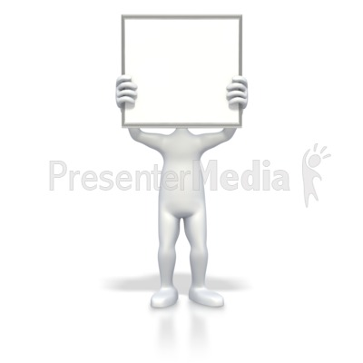 Stick Figure Blank Sign Over Face Presentation clipart
