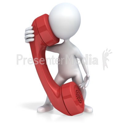 3D Figure Talks on a Giant Phone Presentation clipart