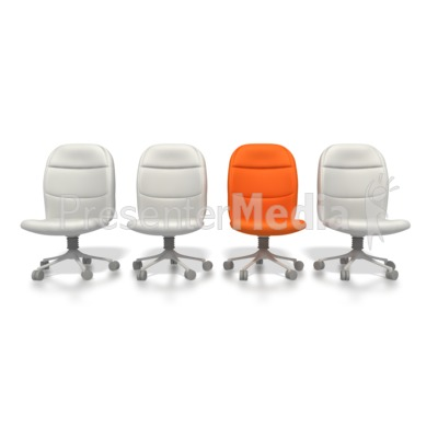 Orange Chair Standing Out  Presentation clipart