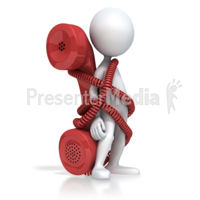 Figure Tied To Phone Presentation clipart