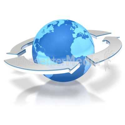 Arrows Circling Earth Presentation clipart