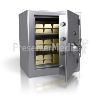 Steel Safe Containing Gold Bars Presentation clipart