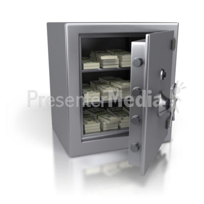 Steel Safe Containing Cash Dollars Presentation clipart