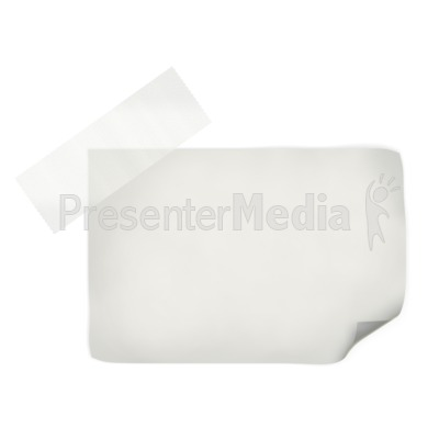 White Note With Tape Presentation clipart