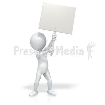3D Stick Figure Holding Picket Sign Presentation clipart