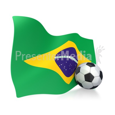 Brazil Flag With Soccer Ball Presentation clipart