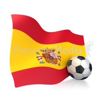 Spain Flag With Soccer Ball Presentation clipart