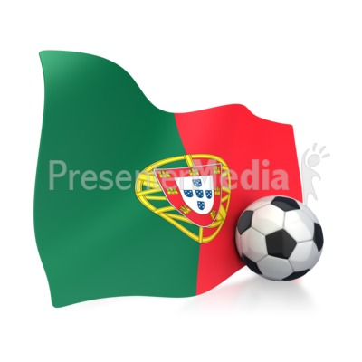 Portugal Flag With Soccer Ball Presentation clipart