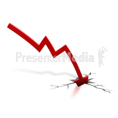 Red Arrow Down Crash Presentation clipart