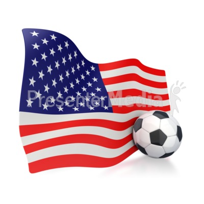 American Flag With Soccer Ball Presentation clipart