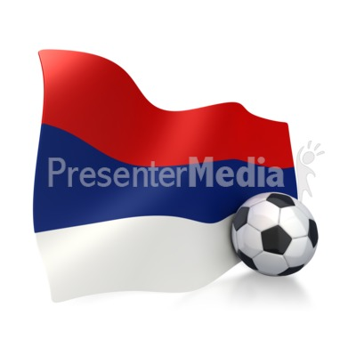 Serbia Flag With Soccer Ball Presentation clipart