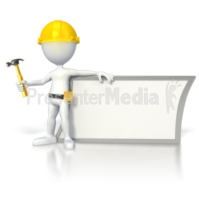 Construction Stick Figure by Sign  Presentation clipart