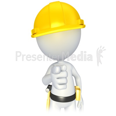 Construction Stick Figure Pointing Presentation clipart