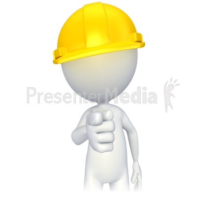 Figure with Hard Hat Pointing Presentation clipart