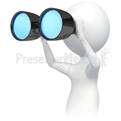 Stick Figre Looking Though Binoculars Presentation clipart