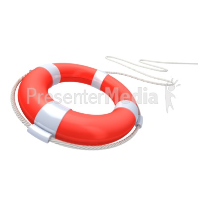 Red Life Buoy Rescue Presentation clipart