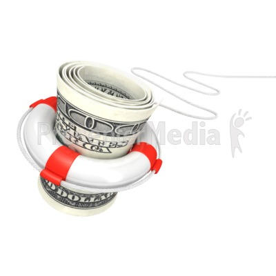 White Life Buoy Save Dollar Presentation clipart