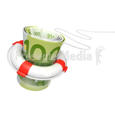 White Life Buoy Save Euros Presentation clipart