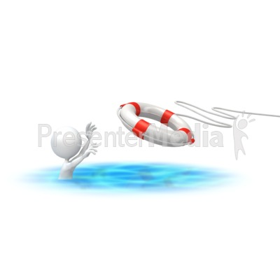 Stick Figure Rescue Buoy Presentation clipart