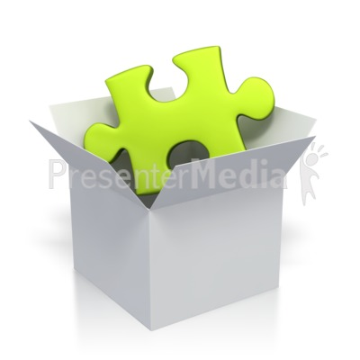 Green Puzzle Piece In Box  Presentation clipart