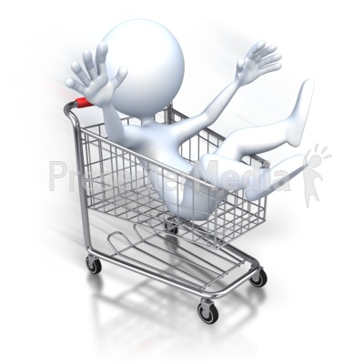 Stick Figure Riding Shopping Cart Presentation clipart