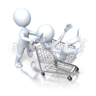 Stick Figure Pushing Guy Shopping Cart Presentation clipart