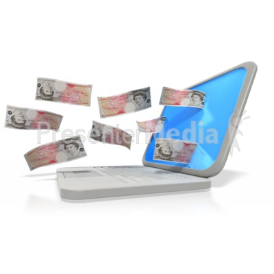 Money Through Laptop Pound Presentation clipart