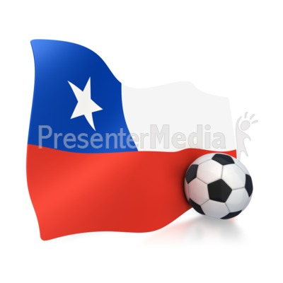 Chile Flag With Soccer Ball Presentation clipart