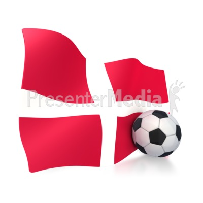 Denmark Flag With Soccer Ball Presentation clipart
