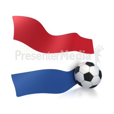 Netherlands Flag With Soccer Ball Presentation clipart