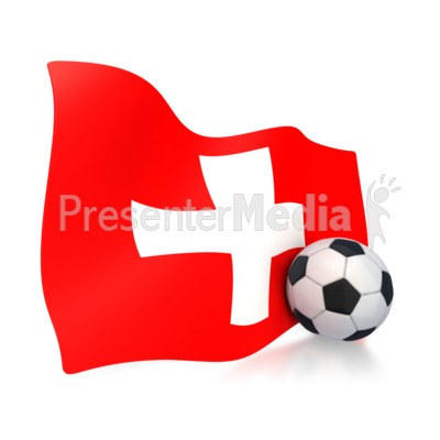 Switzerland Flag With Soccer Ball Presentation clipart