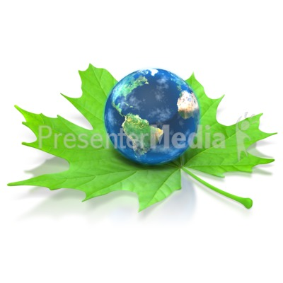 Earth on Green Leaf Presentation clipart