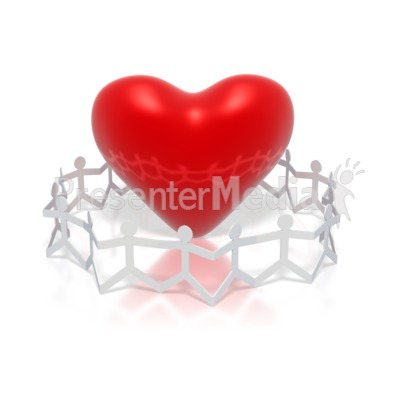 Paper Figures Hold Hands Circle Heart Presentation clipart