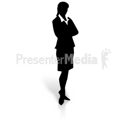 Silhouette of a Woman in a Dress Skirt Presentation clipart