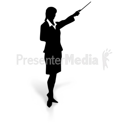 Businesswoman Silhouette Point Presentation clipart