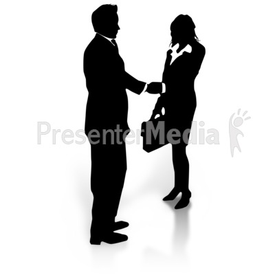 Business Silhouette Shake Presentation clipart